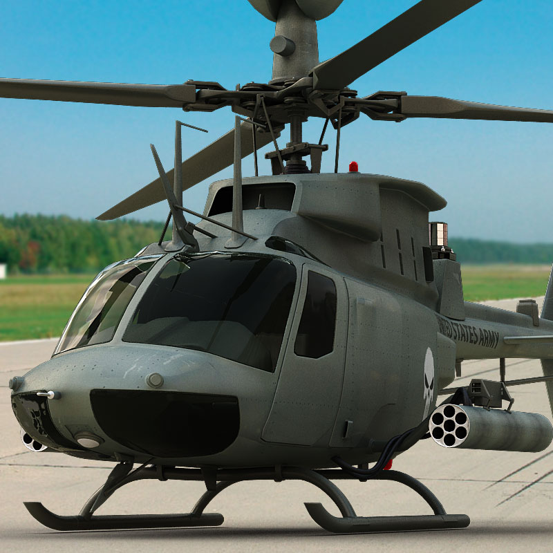 3D model of an OH-58D Kiowa Warrior