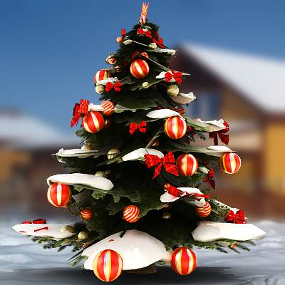 A decorated Christmas tree 3D model