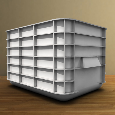 3D model of a white plastic container