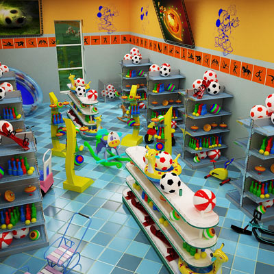 3D model of a kids toys shop