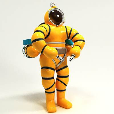 model: Realistic professional 3D diver in atmospheric diving suit