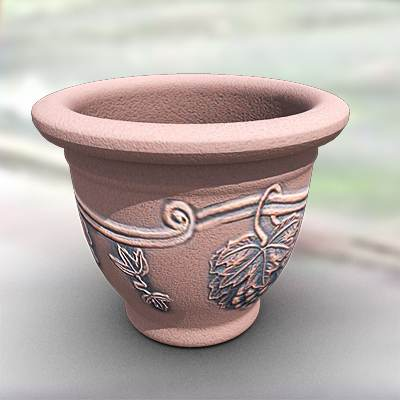 The 3D model of a Flowerpot with grape leafs