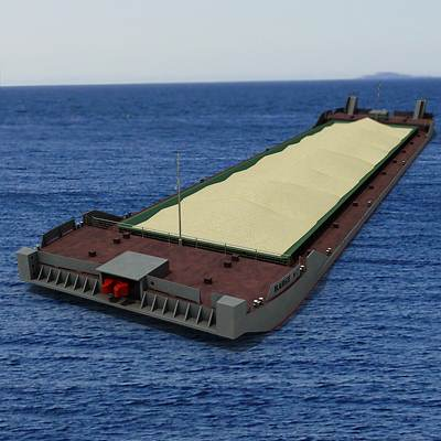 A barge loaded with sand 3D model