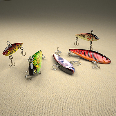 3D model of a set of fishing lures