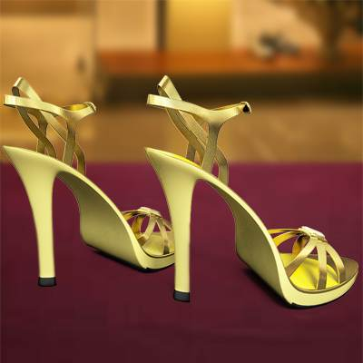 The 3D model of a Golden barks with stilettos