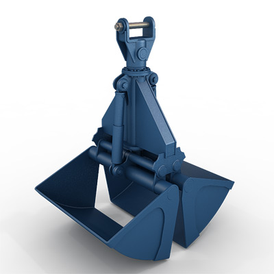 3D model of a hydraulic clamshell grab for harbour cranes