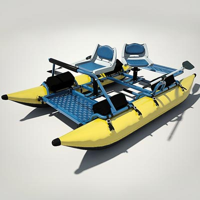 3D model of an Inflatable fishing pontoon boat