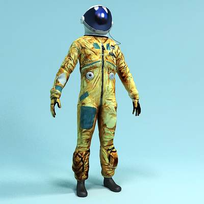 model: 3D space pilot in spacesuit