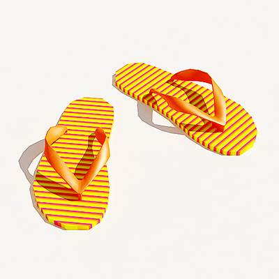 The 3D model of a Women striped flip-flops