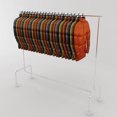 3D model of Down jacket on rack