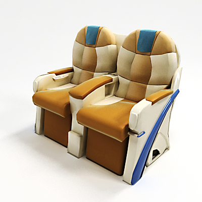 model: The 3D Airplane business class seats