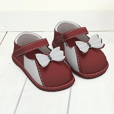 model: 3D Brown and white shoes with bows