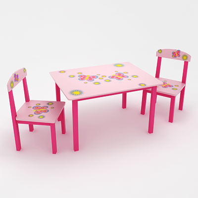 3D model of a kid's table with chairs