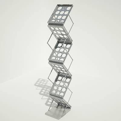 The 3D model of an Empty magazine rack