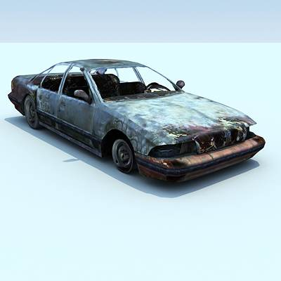 model: Game ready burnt 3D Chevrolet Caprice