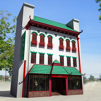 3D model of a China town 3-storey building