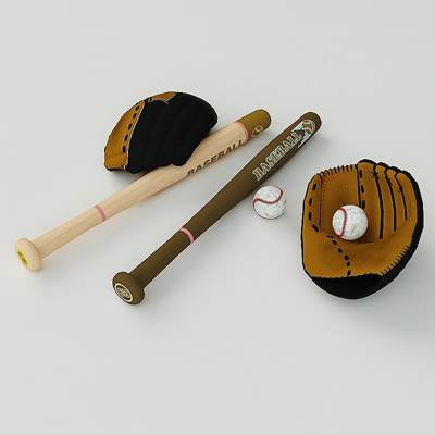 The 3D model of a Baseball equipment set