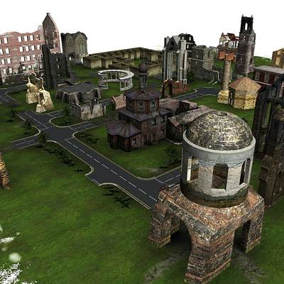 The 3D models of a town in ruins