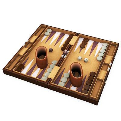 model: The 3D Backgammon set, consisting of a board, two sets of 15 checkers, two pairs of dice, a doubling cube, and dice cups