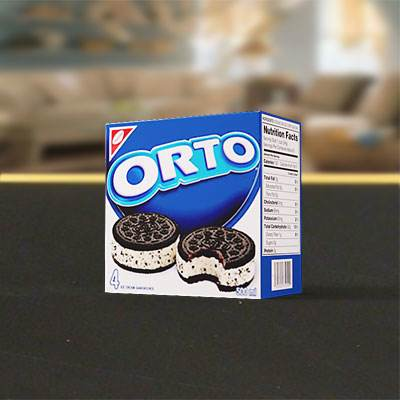The 3D model of an Orto cookie box