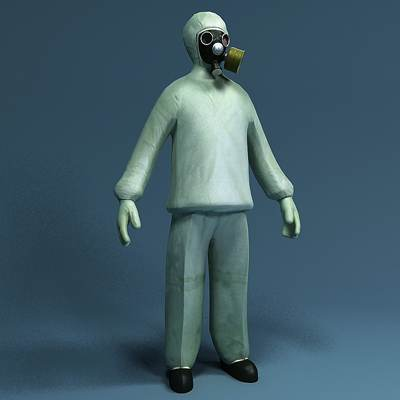 model: 3D disinfector in hazmat suit