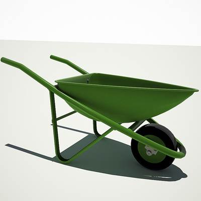 3D model of a village wheelbarrow used in construction works <br />