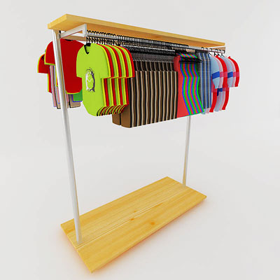3D model of Kids clothes on rack