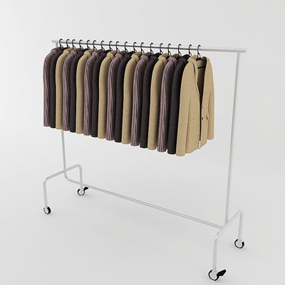 3D model of Jackets on rack