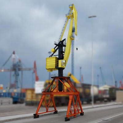 he 3D model of a Level luffing crane