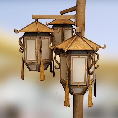 3D model of a Chinese street lamp