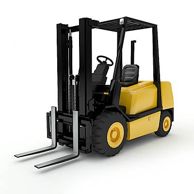 3D model of a forklift, used for loading goods inside warehouses