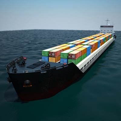 Big full container ship 3D model