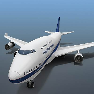 The 3D model of B-747 often called Jumbo, textured as a Singapore Airlines plane