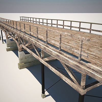 3D model of a Wooden bridge