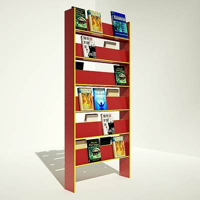 The 3D model of a Bookshelf with books