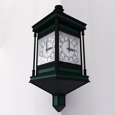 model: 3D old clock hanging on the wall