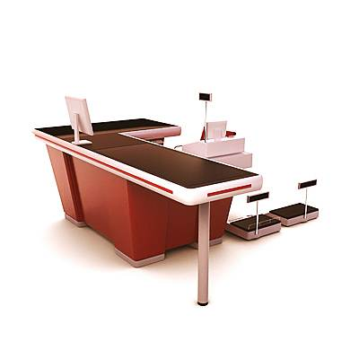 The 3D model of a Checkout counter used in supermarkets and retail units