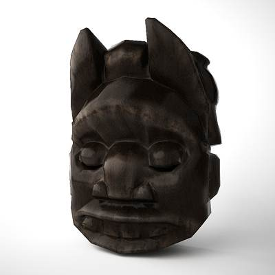 3D model: Wooden mask of an African idol