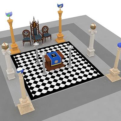 The 3D model of a Masonic lodge interior