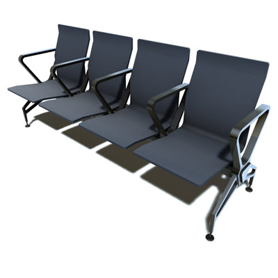 3D model of Airport seats low poly