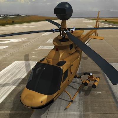 OH-58D Helicopter, also known as Kiowa Warrior 3D model