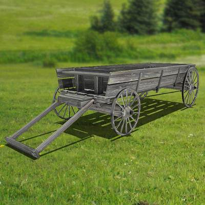 A four wheel dray of an old village 3D model