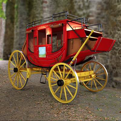 Bright red stagecoach 3D model