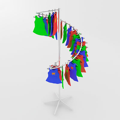 3D model of Kids set on rack