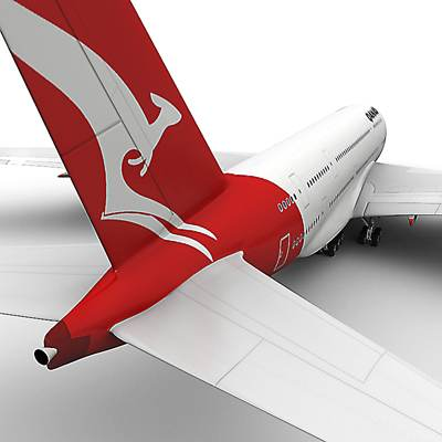 Airbus-A380 textured as a Qantas airlines plane 3D model
