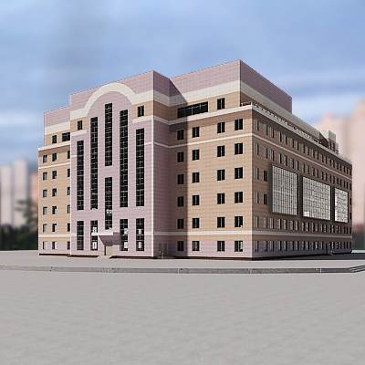 The 3D model of a Elegant modern building