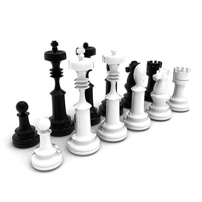 The 3D model of Black-and-white chess pieces set
