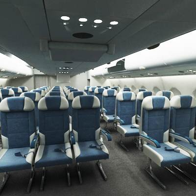 Airbus A 380 economy class interior 3D model