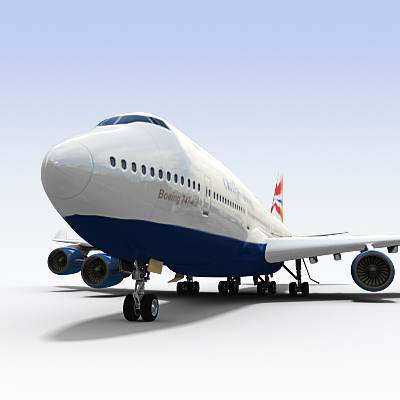 3D model of B-747 often called Jumbo, textured as a BA plane
