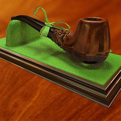 The 3D model of a Saint Patrick's day pipe with clover